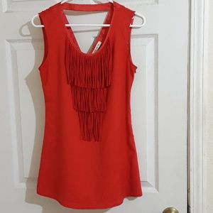 Arden b red fringe top size extra small
